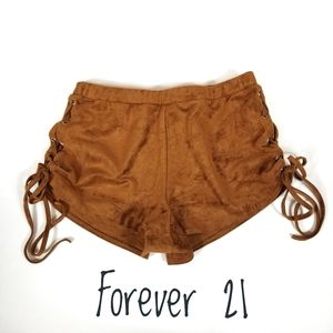 FOREVER 21 Faux Suede Shorts Drawstring Side